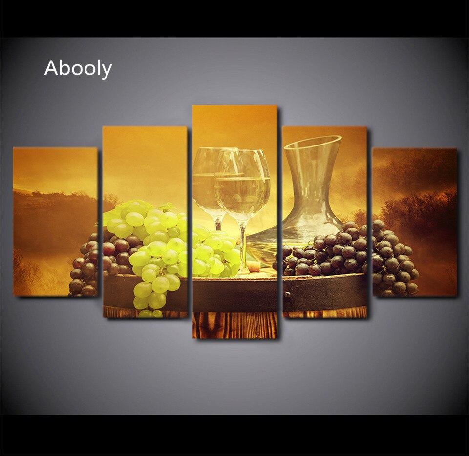 5PieceCanvasCanvas Printed Decoration Wall Art Grape Wine Glasses ...