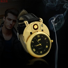 Фотография Leather Strap Gold Replacement Electric Wire Watch USB Charging Windproof Flameless Cigarette Lighter Men Quartz Watch Saat D44