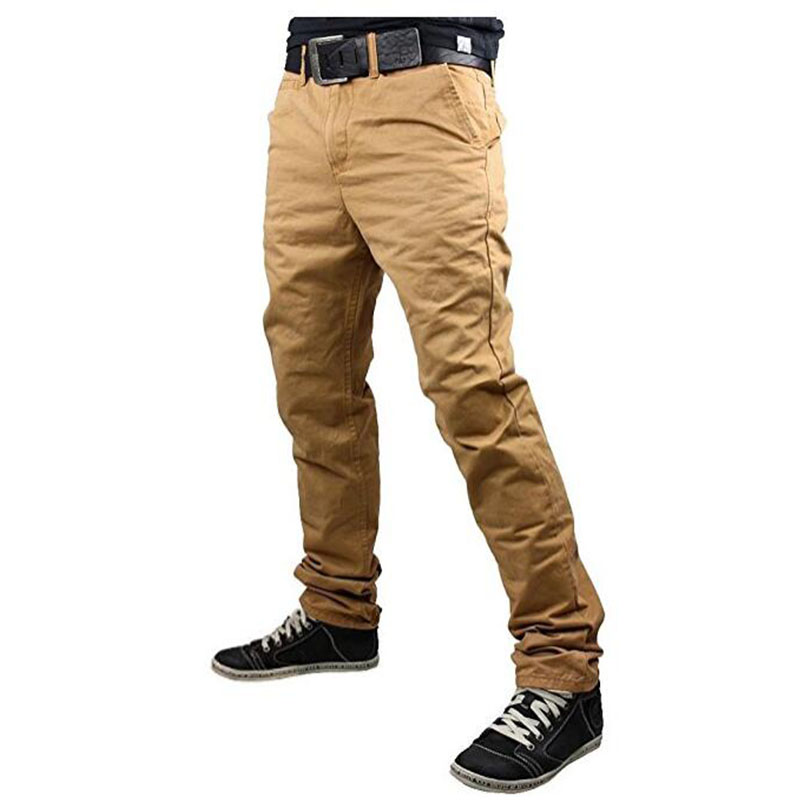 2018 New Fashion Brand Mens Pants Slim Solid Color Elasticity Men Casual Pants Man Trousers Designer Khaki Mens Joggers M-3XL ...