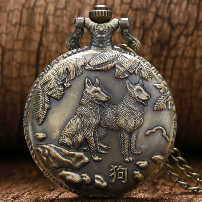 Cool Bronze Double Dogs Design 3D Case Quartz Pocket Watch With Necklace Chain For Men Women Best Gift Reloj De Bolsillo