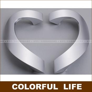 High-end, beautiful, aluminum-magnesium alloy glass door handle, shower heart-shaped handles, silver, gold