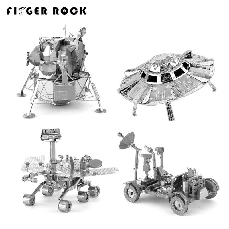 Finger Rock 3D Metal <font><b>Puzzles</b></font> Mars Rover Lunar Module UFO Model Man-made Satellite Children DIY Jigsaws Toys Present Gift