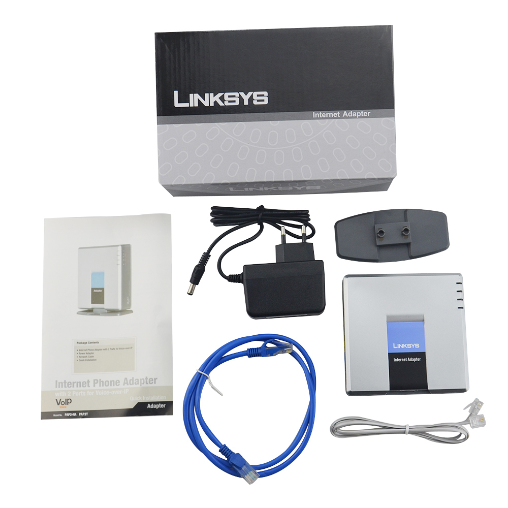 Free Shipping!Unlocked Linksys PAP2T NA Unlocked With retail box PAP2 NA VOIP adapter VOIP gateway voip телефон grandstream networks gxp2160