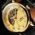 Победитель топ бренд мужчины роскошные золотые скелет руки ветер механические часы мужская мода кожаные наручные часы Montre Homme