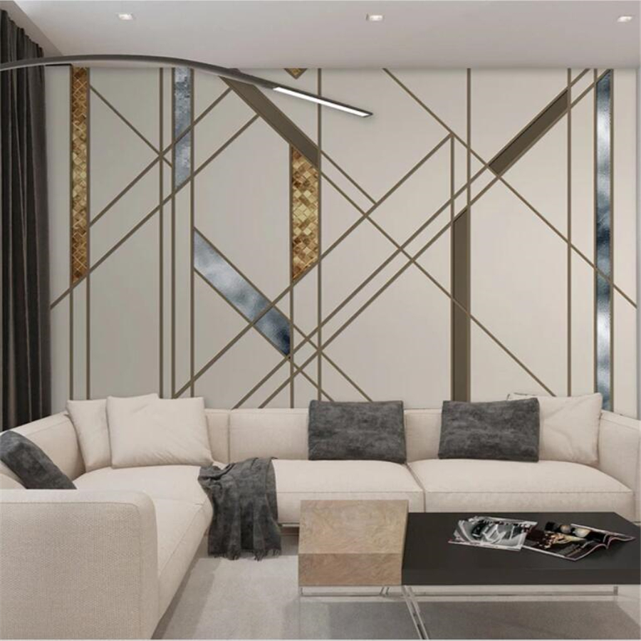 Custom Wallpaper 3d Mural Nordic Minimalist Personality Abstract Geometric Line Square Wall Papers Home Decor Mural 3d Wallpaper