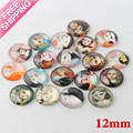 New 10pcs/lot cartoon little girl Rich Color glass Half Round 12mm diy Cabochon for decoration accessories Jewelry Embellishment