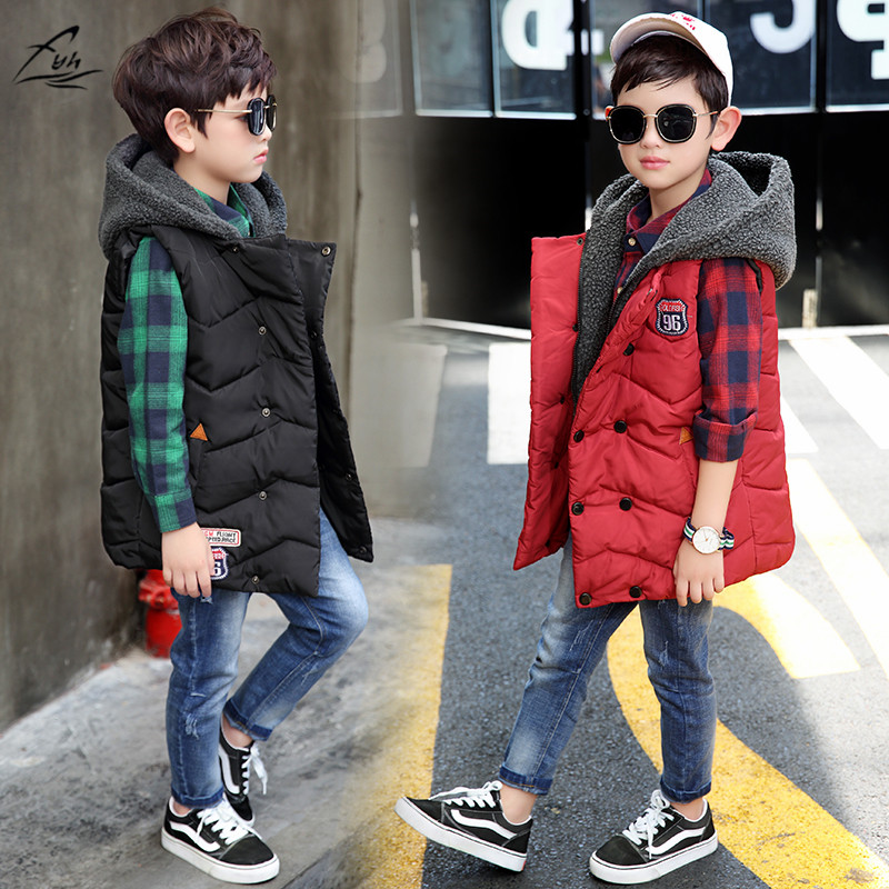 FYH Kids Clothes High Quality Winter Boys Hooded Vest Children Sleeveless Outerwear Big Boys Warm Vest Cotton-padded Waistcoat mint green casual sleeveless hooded top
