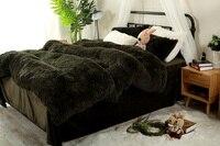 Pure Color Mink Velvet Bedding Sets 13 Colors Lambs Wool Fleece Bed Sheet Duvet Cover Set
