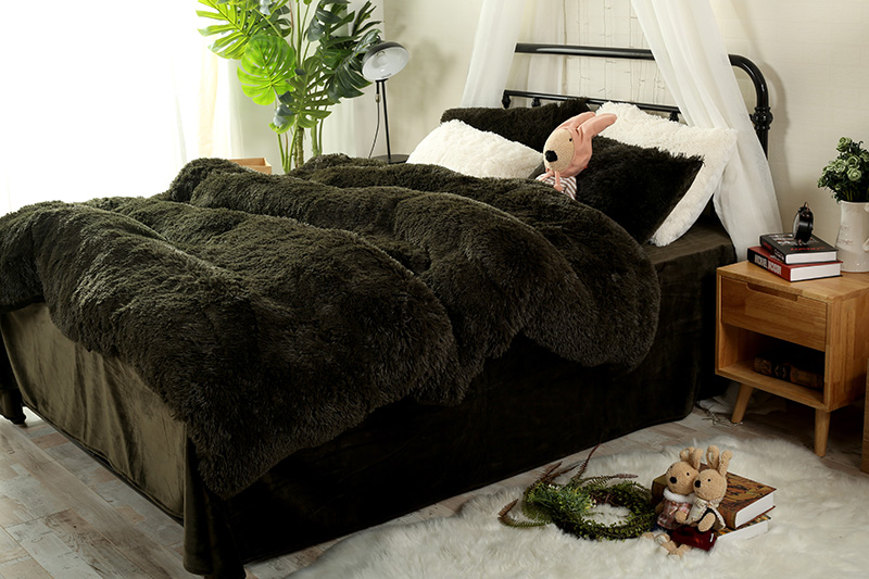 Pure Color Mink Velvet Bedding Sets 13 colors lambs wool Fleece Bed Sheet Duvet Cover se ...