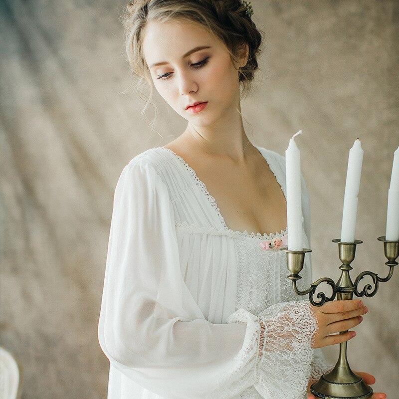 New Women Sexy Gowns Cotton Princess Nightgown Ladies Vintage Sleepwear Women Night wear European Retro Style Dress QW1708