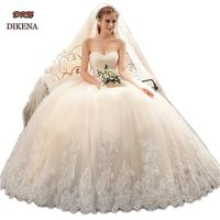 Sweetheart Wedding Dress Appliques Lace hem Bridal Gown Floor Length Lace up Beading Wedding Dresses Champagne