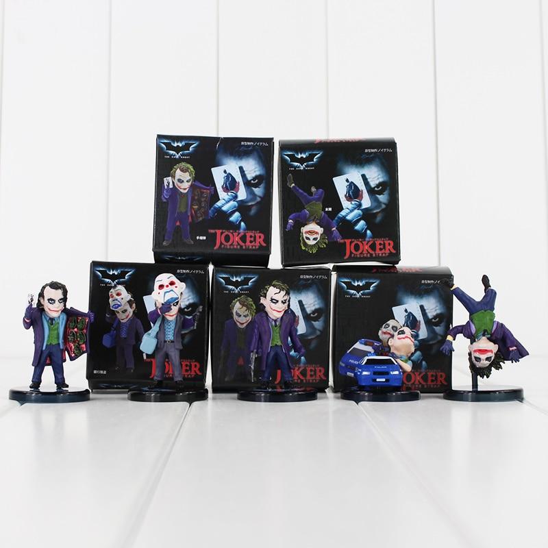 5pcs / lot Batman The Dark Knight The Joker Mini PVC Figures Joker The Evil Opponent of Batman Collection Toys voor kinderen