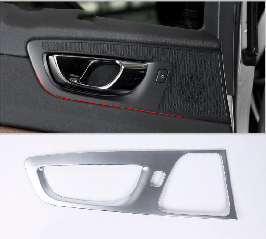 for volvo xc60 2018 matte silver abs chrome 4 pcs interior car side door handle cover trim car. Black Bedroom Furniture Sets. Home Design Ideas