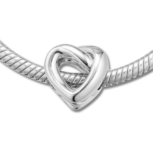 Knotted Heart Silver Beads for Bracelets & Bangles Love Signature Silver 925 Jewelry Mother Day Beaded Beads for Jewelry Making