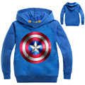 New 2017 Children Spring Clothing Captain America Hoodies Sweatshirts Terry Cotton Topwear Kids Long Sleeve Sweater(3-8Y)