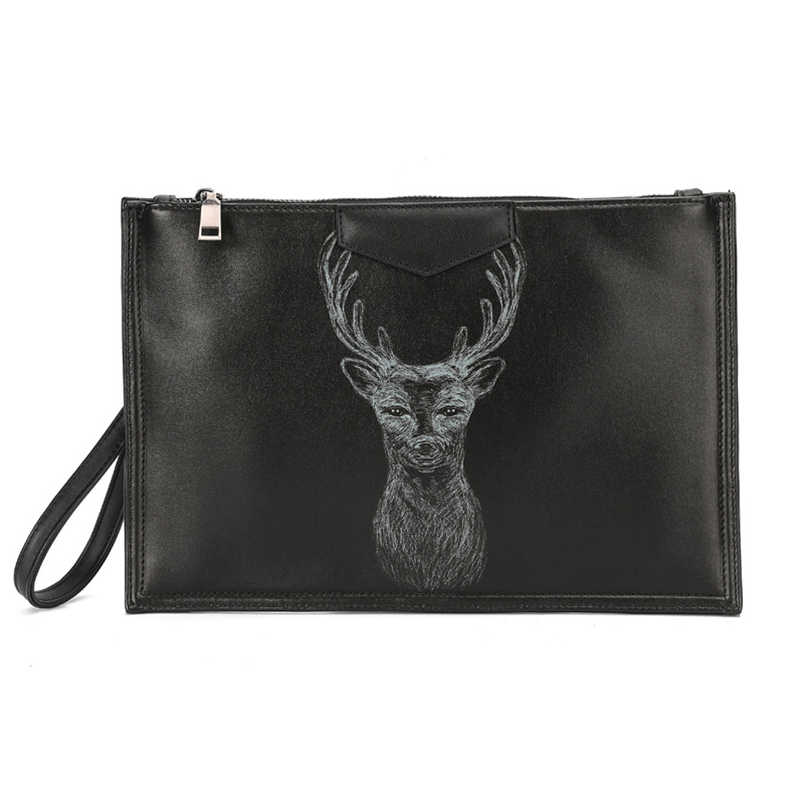 Animal Fawn Print Black PU Handbag European American Style Mens Fashion Envelope Bag Clutch Bags Male Shoulder Bag