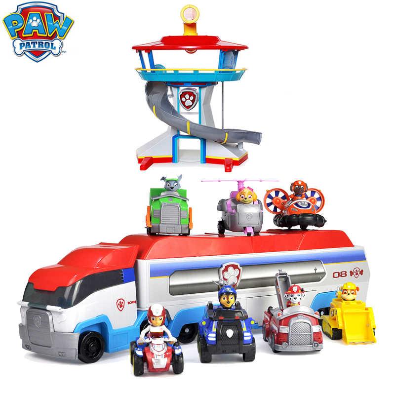 Paw Patrol สำนักงานใหญ่ Lookout Tower ตัวเลขการกระทำของเล่นรถ Chase Marshall Rubble Skye Zuma Ryder ต่างๆฉากของเล่นของขวัญ