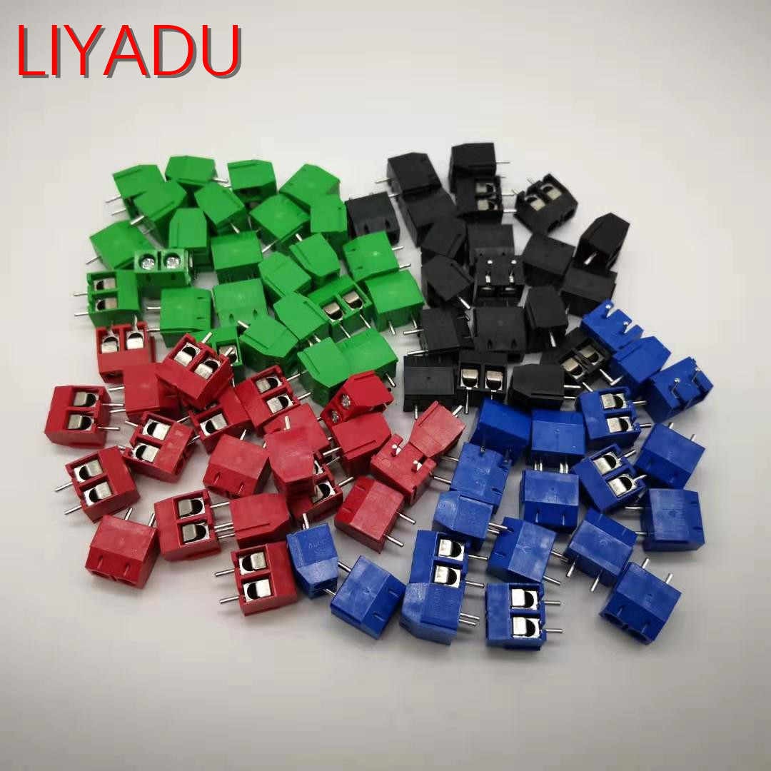 20PCS KF301-2P Splicing, screw type PCB spacing 5.0 connector terminals, terminal Blue/green KF301 Red, blue, green, black