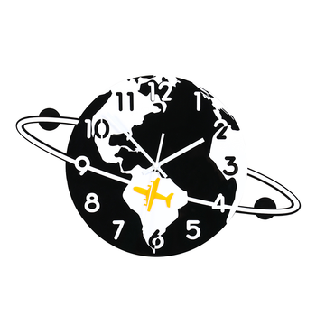 Creative Cartoon Wall Clock Silent Hanging Clock With Wall Stickers Modern Design Home Decor