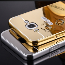 For Samsung J1 2016 Mirror Acrylic+Aluminum Case For Samsung Galaxy J1 J1 Mini J2 J3 J5 J7 2016 Luxury Metal Bumper Back Cover