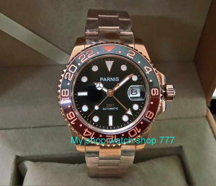 41MM PARNIS Automatic Self-Wind movement Ceramic bezel Sapphire Crystal luminous Rose Gold case GMT men's watch pa30-p8