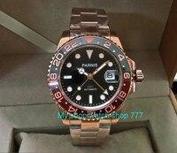 41mm parnis automático auto-vento movimento cerâmica moldura de cristal safira luminosa rosa ouro caso gmt relógio masculino pa30-p8
