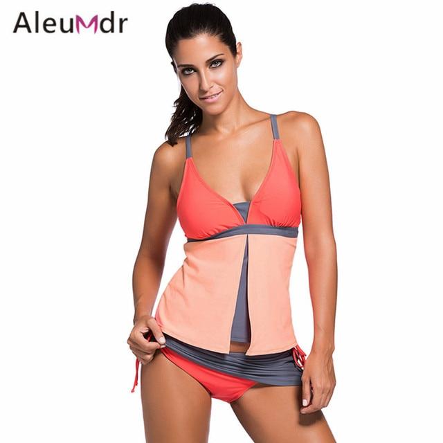 ae4942fee996 Aliexpress.com: Comprar Aleumdr mujeres Traje De baño Tankini Bikini  conjunto Retro imprimir Traje De baño Patchwork Traje De baño Beach Wear ...
