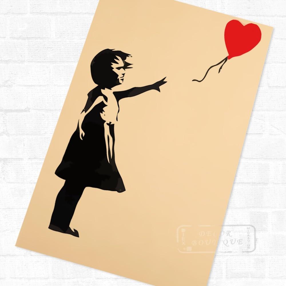 Popular Girl Balloon Wall Sticker Banksy-Buy Cheap Girl Balloon Wall ...