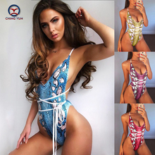CHING YUN 2019 New Women One-Piece Swimsuit Bandage Cloth Deep V Digital Snakeskin Printed Sexy Ms Push Up Swimwear