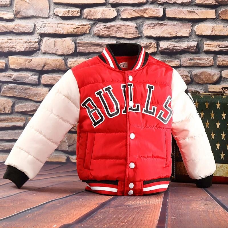 Jacket Fashion Kids Bulls Baseball Parkas Outwear Warm Child Children Teenage Cotton Coat Boy Girl Sports Shirt Christmas велосипед bulls tokee street 20 girl 18g 2016