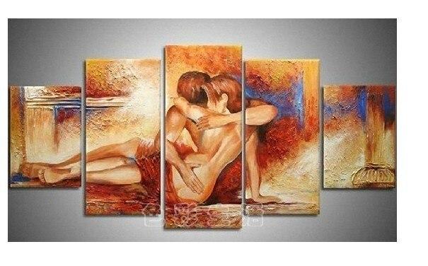 Peint à la main 5 peça peintures à l'huile abstraite moderne sur l'art mur de toile Sexy amants nus photos nues pour le salon décoration