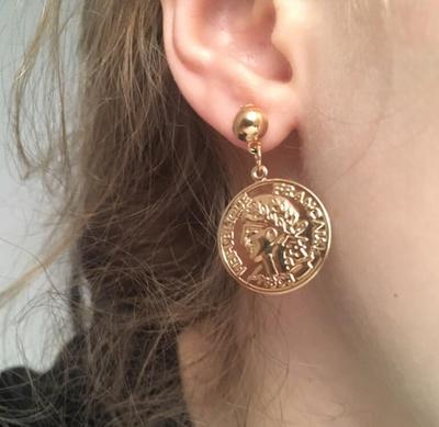 Tocona Vintage Metal Avatar Medusa Portrait Coin Letter Gold Color Drop Earrings For Women Girl Punk Round Jewelry 3459