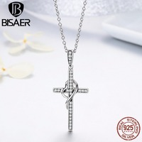 BISAER New Arrival 925 Sterling Silver Faith In Heart Cross Crystal Women Pendant Necklaces Authentic Silver