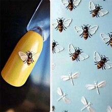 1pcs חמוד חיות פלמינגו דבורה ופרח נייל מדבקות העברת מים מדבקת 3D עיצובים נייל אמנות מחוון מניקור קישוט