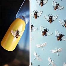 1pcs 귀여운 동물 플라밍고 꿀벌과 꽃 네일 스티커 물 전송 스티커 3d 디자인 네일 아트 슬라이더 매니큐어 장식
