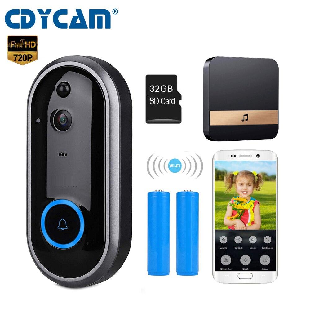 CDYCAM Video Doorbell Monitor Intercom 720P Security Camera Door Phone Two Way Audio Night Vision Wireless
