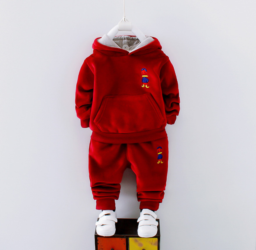New Baby Boy Clothes Sets for Winter Spring Kids Girls Plus velvet thickening hoodie and trousers two pieces Sport Suit  Warmer baby clothes 5 14 t new leisure boy suit children off two pieces of beard