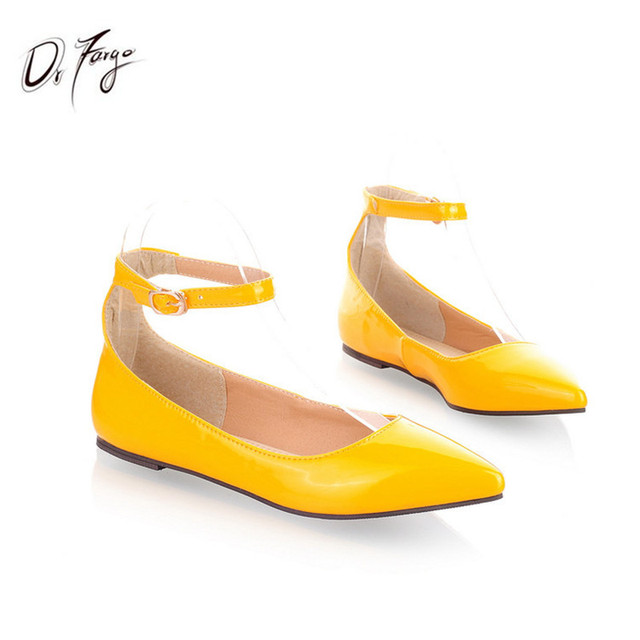 LOSLANDIFEN Plus size 34-49 Ankle Wrap Women's Flats Pointed Toe Ladies Shoes Patent Leather Mujer Zapatos