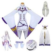 DM COS Re Zero Kara Hajimeru Isekai Seikatsu Emilia Wigs Cosplay Costumes Women Dress With Headdress For Halloween PartyCosplay