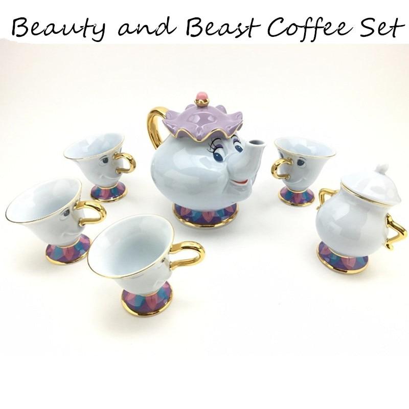 Cartoon Beauty And The Beast Tea Set Teapot Cup Mrs Potts Chip Bela E A Fera Pot Mug Kettle Milk Coffee Creative Gift
