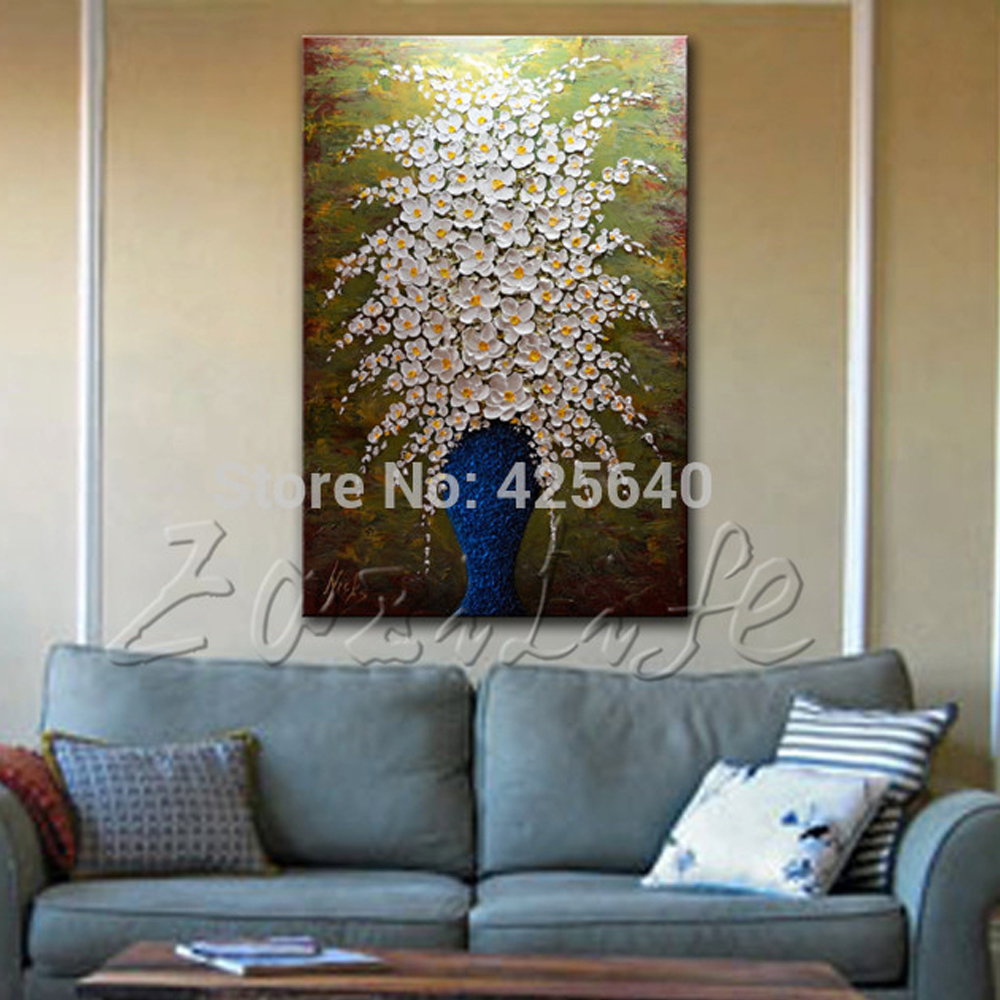 aliexpresscom  buy hand painted palette knife white flowers oil  - aliexpresscom  buy hand painted palette knife white flowers oil paintingwall art canvas picture modern abstract home decor living room bedroom from