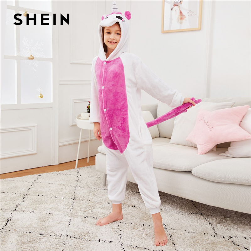 SHEIN Girls Colorblock Plush Casual Onesie Kids Jumpsuit pajamas 2019 Spring Long Sleeve Hooded Warm Cartoon Blanket Sleeper светлана славная как появилась школа
