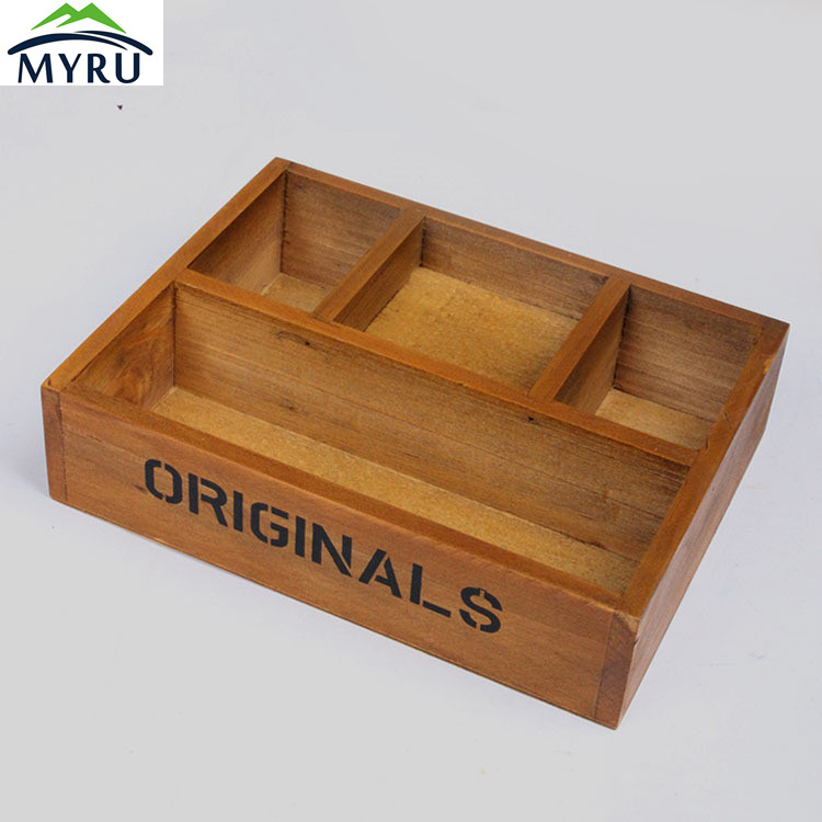 Retro Desktop Wooden Storage Box Multifunctional Makeup/ Stationery/ Potted Plant Sorting Storage Box