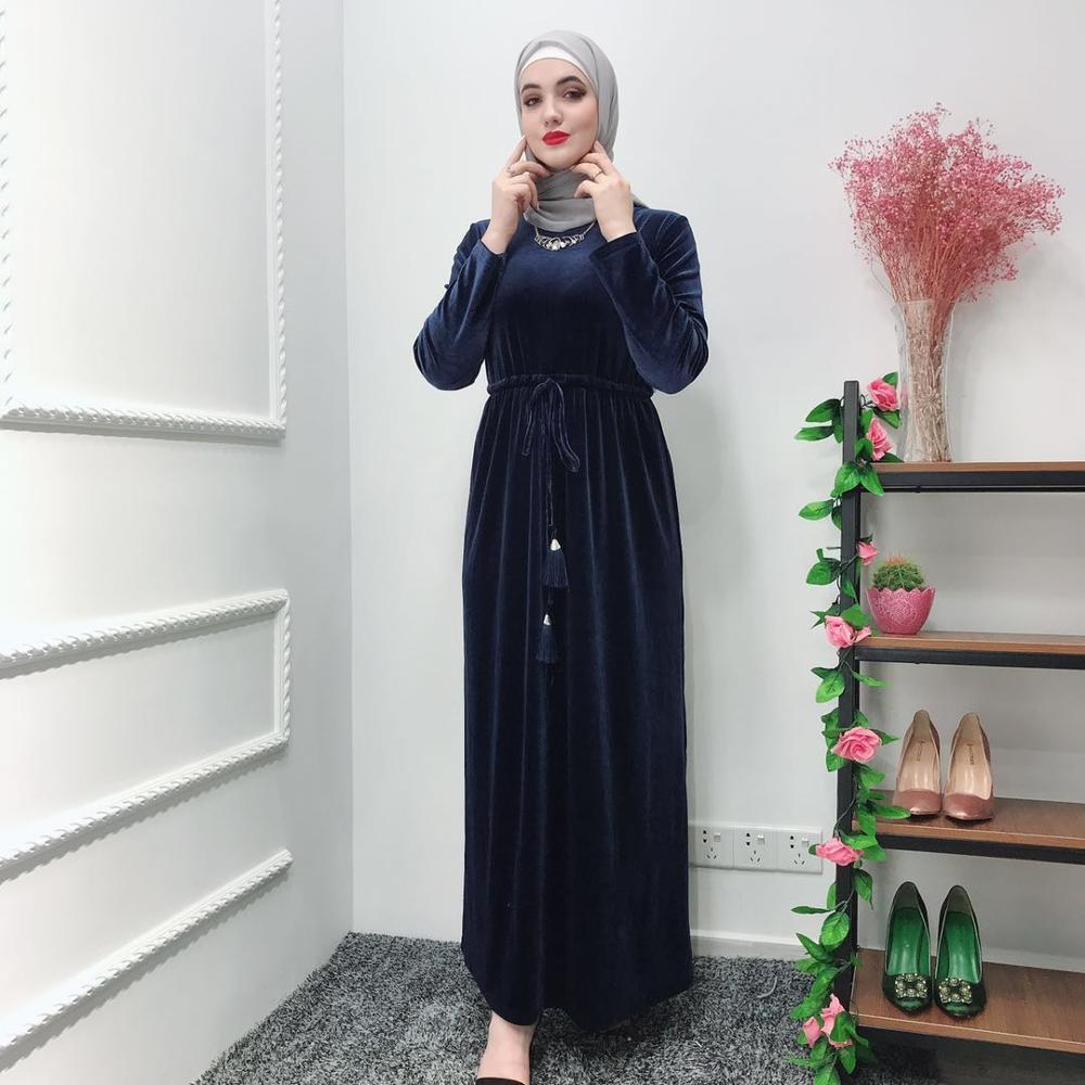 Elegant Muslim Velvet Abaya Jubah Middle East Ramadan Arab Islamic Clothing Full Dresses Cardigan Kimono Long Robe Gowns Tunic