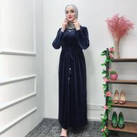 Elegant Muslim Velvet Abaya Jubah Middle East Ramadan Arab Islamic Clothing Full Dresses Cardigan Kimono Long Robe Gowns Tunic