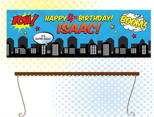 Personal Customized 24 x 72 Superhero Birthday Banner Skyline Backdrop personal assets