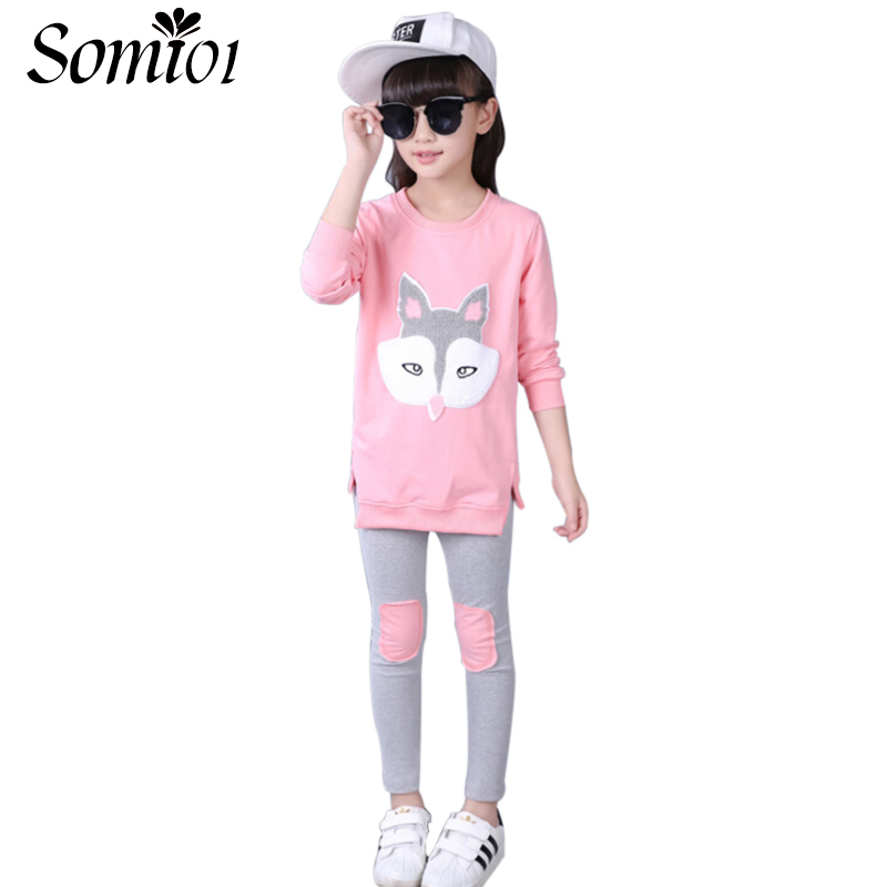 Children Girls Cartoon Fox Clothing Sets 2017 Spring Autumn 2pcs Long Sleeve Blouse + Pants Kids Teen Girl Sports Clothes Suits girl children floral blouse shirt spring autumn long sleeve doll collar girls thin chiffon blouses tops for teen 13 14 15y fb300