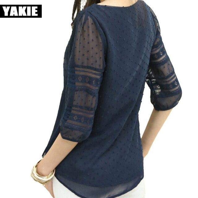 Корея стиль плюс размер sheer блузки три четверти blusas шифон рубашки большой размер женщин одежда летняя Женская верхняя одежда мода 2017