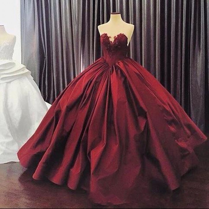 Bungundy Puffy 2019 Cheap Quinceanera Dresses Ball Gown Sweetheart Satin Appliques Lace Party Sweet 16 Dresses