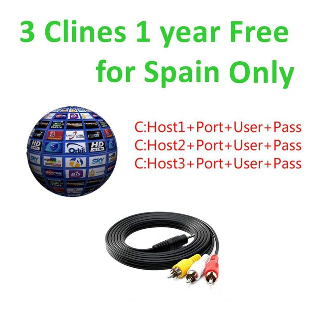 2019 1 Year 3 lines cccams for spain Satellite tv Receiver 3 lines WIFI FULL HD DVB-S2 Support via USB Wifi dongle